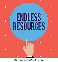 Text sign showing Endless Resources. Conceptual photo...