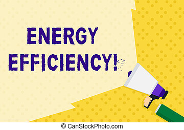 Text sign showing Energy Efficiency. Conceptual photo reduce the amount of energy required to provide product Hand Holding Megaphone with Blank Wide Beam for Extending the Volume Range.