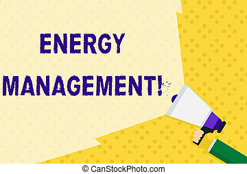 Text sign showing Energy Management. Conceptual photo way of tracking and monitoring energy to conserve usage Hand Holding Megaphone with Blank Wide Beam for Extending the Volume Range.