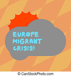 Text sign showing Europe Migrant Crisis. Conceptual photo European refugee crisis from a period beginning 2015 Sun Hiding Shining Behind Blank Fluffy Color Cloud photo for Poster Ads.