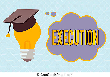 Text sign showing Execution. Conceptual photo it executes or imposes a program order or course of action 3D Graduation Cap Thinking Resting on Bulb with Blank Cloud Thought Bubble.