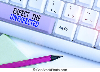 Text sign showing Expect The Unexpected. Conceptual photo Anything can Happen Consider all Possible Events White pc keyboard with empty note paper above white background key copy space.