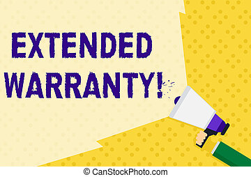 Text sign showing Extended Warranty. Business photo text contract which gives a prolonged warranty to consumers Hand Holding Megaphone with Blank Wide Beam for Extending the Volume Range
