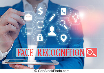 Text sign showing Face Recognition. Conceptual photo ability...