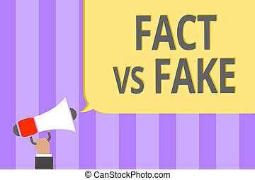 Text sign showing Fact Vs Fake. Conceptual photo Rivalry or...