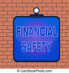 Text sign showing Financial Safety. Conceptual photo enough money saved to cover emergencies and financial goals Clipboard colorful background spring clip stuck bind empty plank frame.