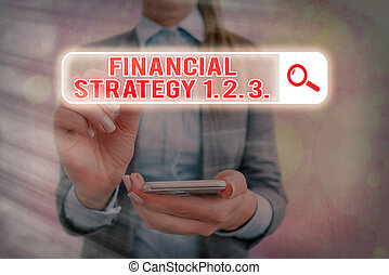 Text sign showing Financial Strategy 1 2. 3.. Conceptual photo build on insights from a business context Web search digital information futuristic technology network connection.