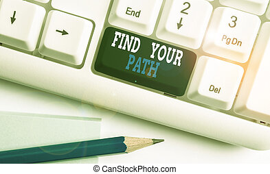 Text sign showing Find Your Path. Conceptual photo Search for a way to success Motivation Inspiration White pc keyboard with empty note paper above white background key copy space.