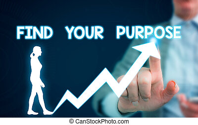 Text sign showing Find Your Purpose question. Conceptual photo reason for something is done or for which exists Female human wear formal work suit presenting presentation use smart device.