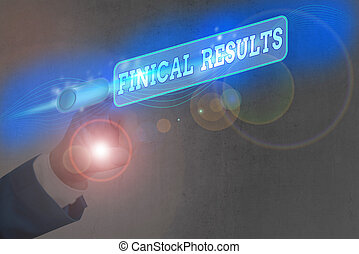 Text sign showing Finical Results. Business photo text written records that convey the business activities