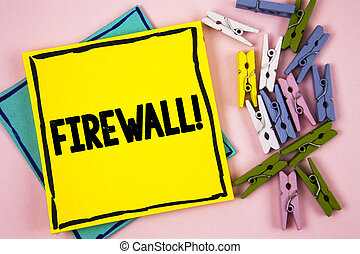 Text sign showing Firewall Motivational Call. Conceptual photo Malware protection prevents internet frauds written on Sticky Note Paper on plain background Paper Balls and Wooden Clips.