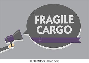 Text sign showing Fragile Cargo. Conceptual photo Breakable Handle with Care Bubble Wrap Glass Hazardous Goods Man holding megaphone loudspeaker speech bubble message speaking loud.