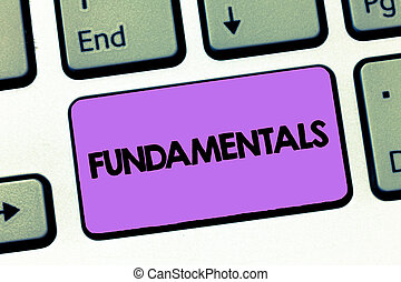 Text sign showing Fundamentals. Conceptual photo Central primary rules principles on which something is based
