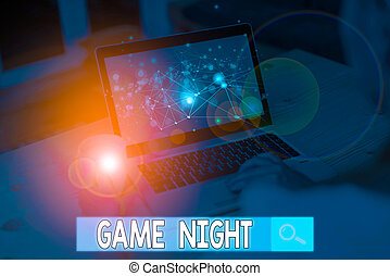 Text sign showing Game Night. Conceptual photo event in which folks get together for the purpose of getting laid.