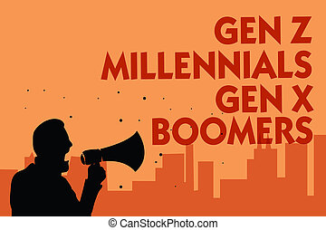 Text sign showing Gen Z Millennials Gen X Boomers. Conceptual photo Generational differences Old Young people Man holding megaphone speaking politician making promises orange background.