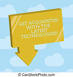 Text sign showing Get Acquainted With The Latest ...