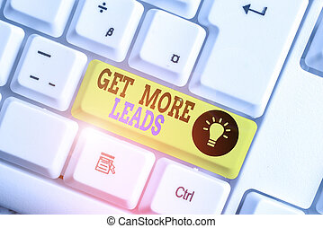 Text sign showing Get More Leads. Conceptual photo to have more customers and improve your target sales White pc keyboard with empty note paper above white background key copy space.