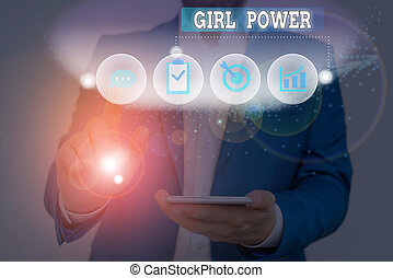 Text sign showing Girl Power. Business photo text assertiveness and selfconfidence shown by girls or young woanalysis