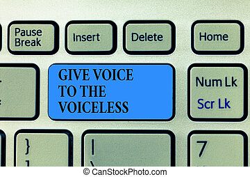 Text sign showing Give Voice To The Voiceless. Conceptual photo Speak out on Behalf Defend the Vulnerable