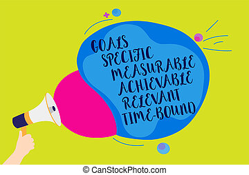 Text sign showing Goals Specific Measurable Achievable Relevant Time Bound. Conceptual photo Strategy Mission Man holding Megaphone loudspeaker screaming talk colorful speech bubble