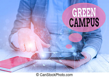 Text sign showing Green Campus. Conceptual photo sustainable and environmentally friendly educational facility Female human wear formal work suit presenting presentation use smart device.