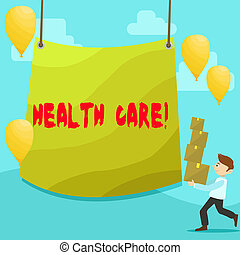 Text sign showing Health Care. Conceptual photo Medical Maintenance Improvement of Physical Mental conditions Man Carrying Pile of Boxes with Blank Tarpaulin in the Center and Balloons.