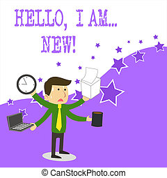 Text sign showing Hello I Am New. Conceptual photo used greeting or begin telephone conversation.