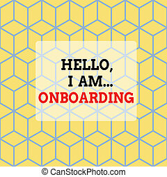 Text sign showing Hello I Am Onboarding. Conceptual photo telling demonstrating that you are on ship or plane Seamless Blue Blocks Cubes Yellow Background Depth Deepness Perspective.