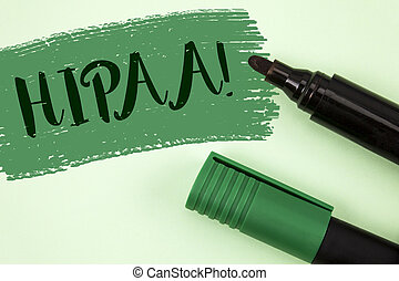 Text sign showing Hipaa Motivational Call. Conceptual photo Health Insurance Portability and Accountability Act written on Painted Green background Markers next to it.