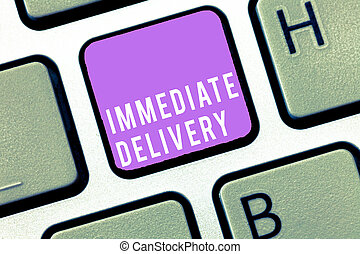 Text sign showing Immediate Delivery. Conceptual photo Send it Now Custom Procedure to dispose Promptly