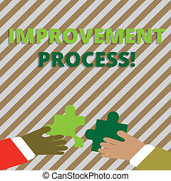 Text sign showing Improvement Process. Conceptual photo Ongoing effort to improve products and services Two Hands Holding Colorful Jigsaw Puzzle Pieces about to Interlock the Tiles.