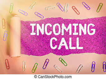 Text sign showing Incoming Call. Conceptual photo Inbound Received Caller ID Telephone Voicemail Vidcall.