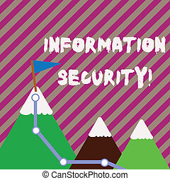 Text sign showing Information Security. Conceptual photo protected against the unauthorized use of information Three Mountains with Hiking Trail and White Snowy Top with Flag on One Peak.