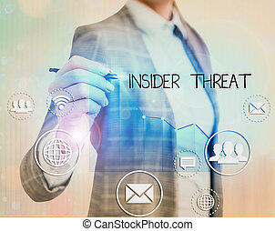 Text sign showing Insider Threat. Conceptual photo security threat that originates from within the organization.