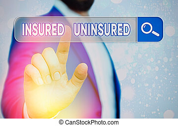 Text sign showing Insured Uninsured. Conceptual photo Company selling insurance Checklist to choose from.