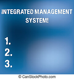Text sign showing Integrated Management System. Conceptual photo combines all components of a business into one Blurry Light Flashing Glaring on Blank Blue Hazy Space for Poster Wallpaper.