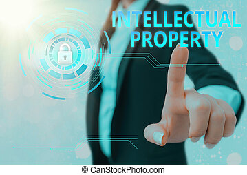 Text sign showing Intellectual Property. Conceptual photo work or invention that is the result of creativity.