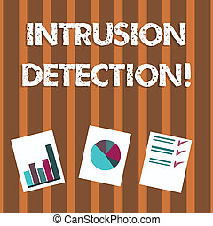 Text sign showing Intrusion Detection. Conceptual photo monitors a network or systems for malicious activity Presentation of Bar, Data and Pie Chart Diagram Graph Each on White Paper.