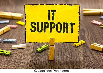 Text sign showing It Support. Conceptual photo Lending help...
