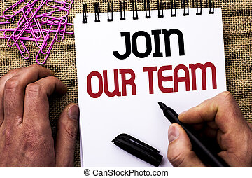 Text sign showing Join Our Team. Conceptual photo Be a Part of our Teamwork Workforce Wanted Recruitment written by Man Holding Marker on Notebook Book on the jute background Pins next to it