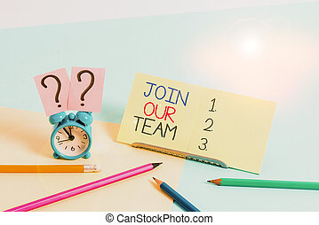 Text sign showing Join Our Team. Conceptual photo Hiring ...