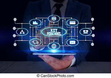 Text sign showing Key Personnel. Business photo text Program Directors Principal Investigator Project Executives Male human wear formal work suit presenting presentation using smart device