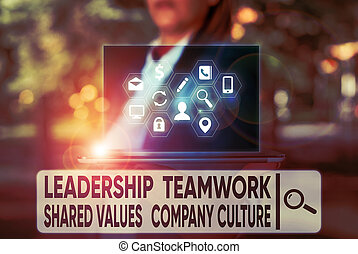 Text sign showing Leadership Teamwork Shared Values Company ...