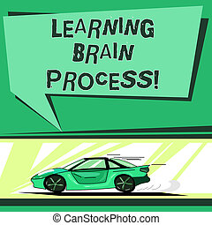 Text sign showing Learning Brain Process. Conceptual photo Acquiring new or modifying existing knowledge Car with Fast Movement icon and Exhaust Smoke Blank Color Speech Bubble.