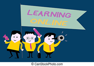 Text sign showing Learning Online. Conceptual photo Learn...