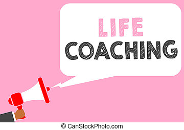 Text sign showing Life Coaching. Conceptual photo Improve Lives by Challenges Encourages us in our Careers Man holding megaphone loudspeaker speech bubble message speaking loud.