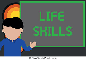 Text sign showing Life Skills. Conceptual photo skill that is necessary for full participation in everyday life Young man standing in front whiteboard pointing to project. photo Art.