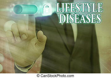 Text sign showing Lifestyle Diseases. Conceptual photo a disease associated with the way an individual lives Graphics padlock for web data information security application system.