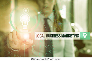 Text sign showing Local Business Marketing. Business photo showcasing Localized specification on Store characteristic Female human wear formal work suit presenting presentation use smart device