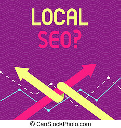Text sign showing Local Seoquestion. Conceptual photo incredibly effective way to market your local business online Two Arrows where One is Intertwined to the other as Team Up or Competition.